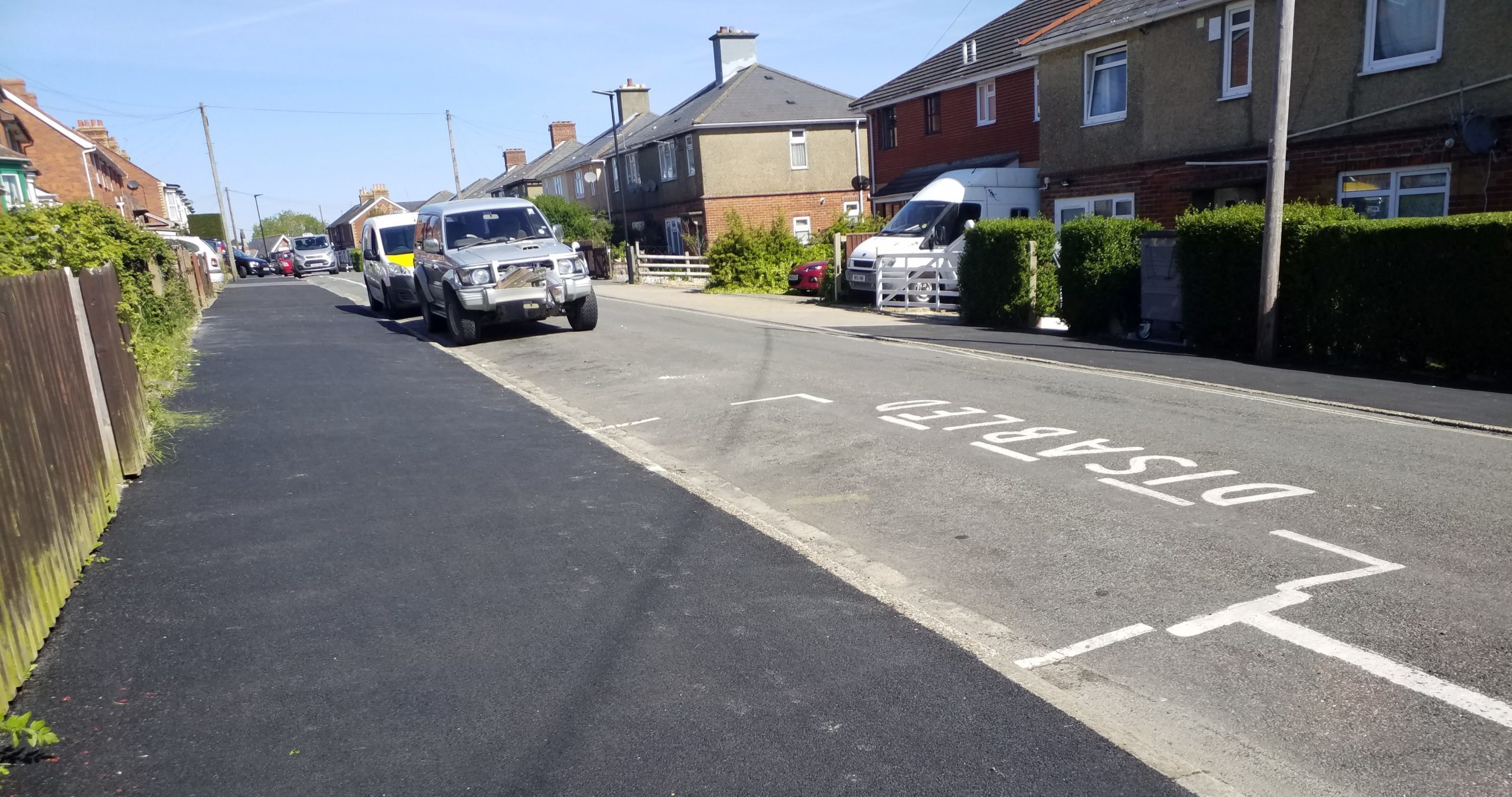Photo showing disabled bay marked out on the road