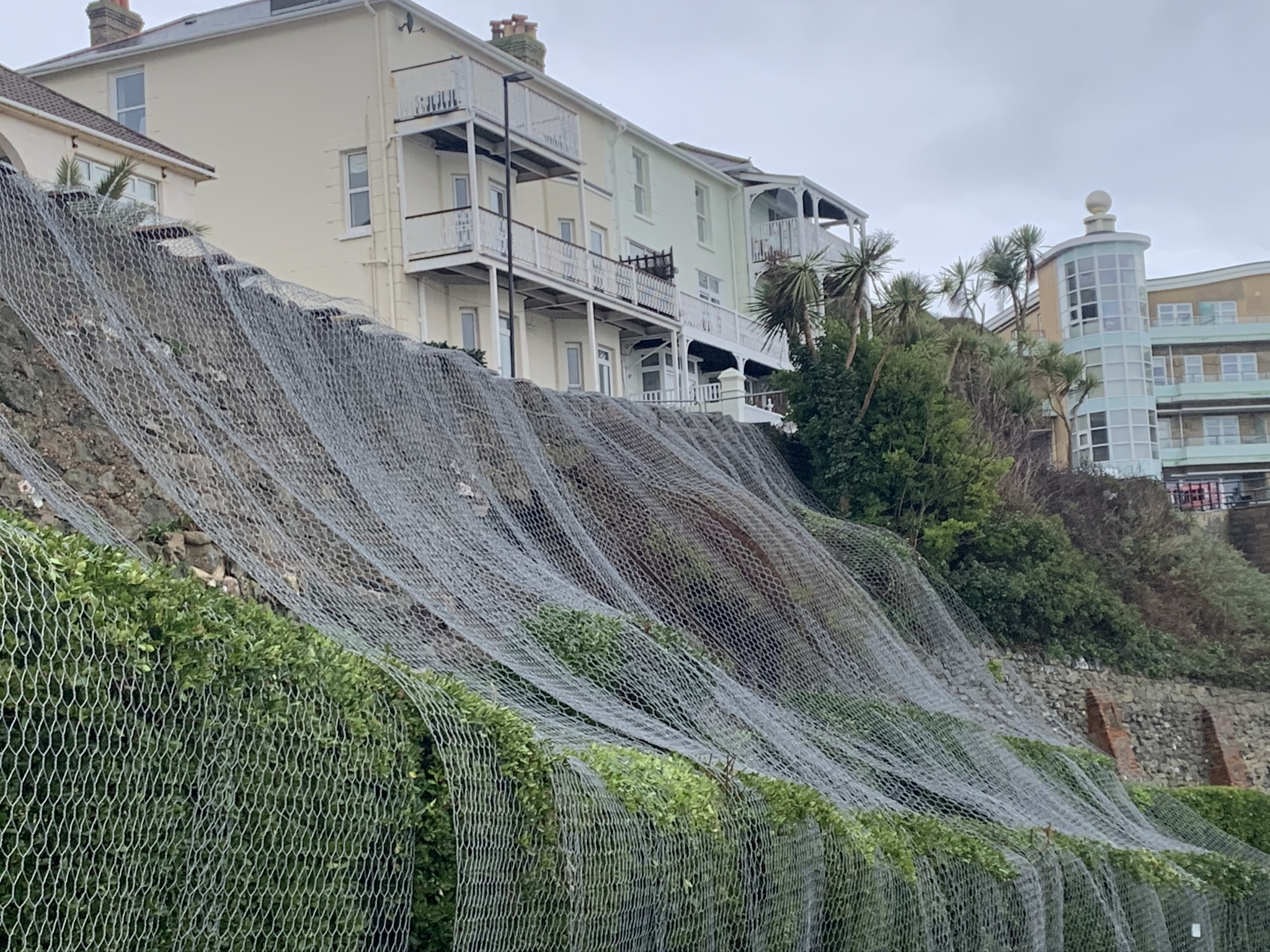 Photo showing terracing at Belgrave Road Ventnor covered by wire netting following the partial collapse of a wall