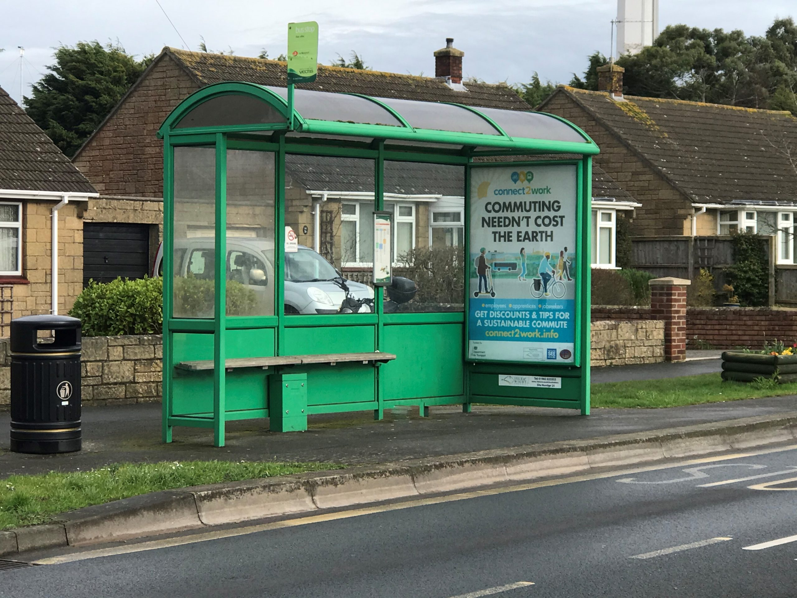 Photo showing a bus shelter at the side of the road in Cowes