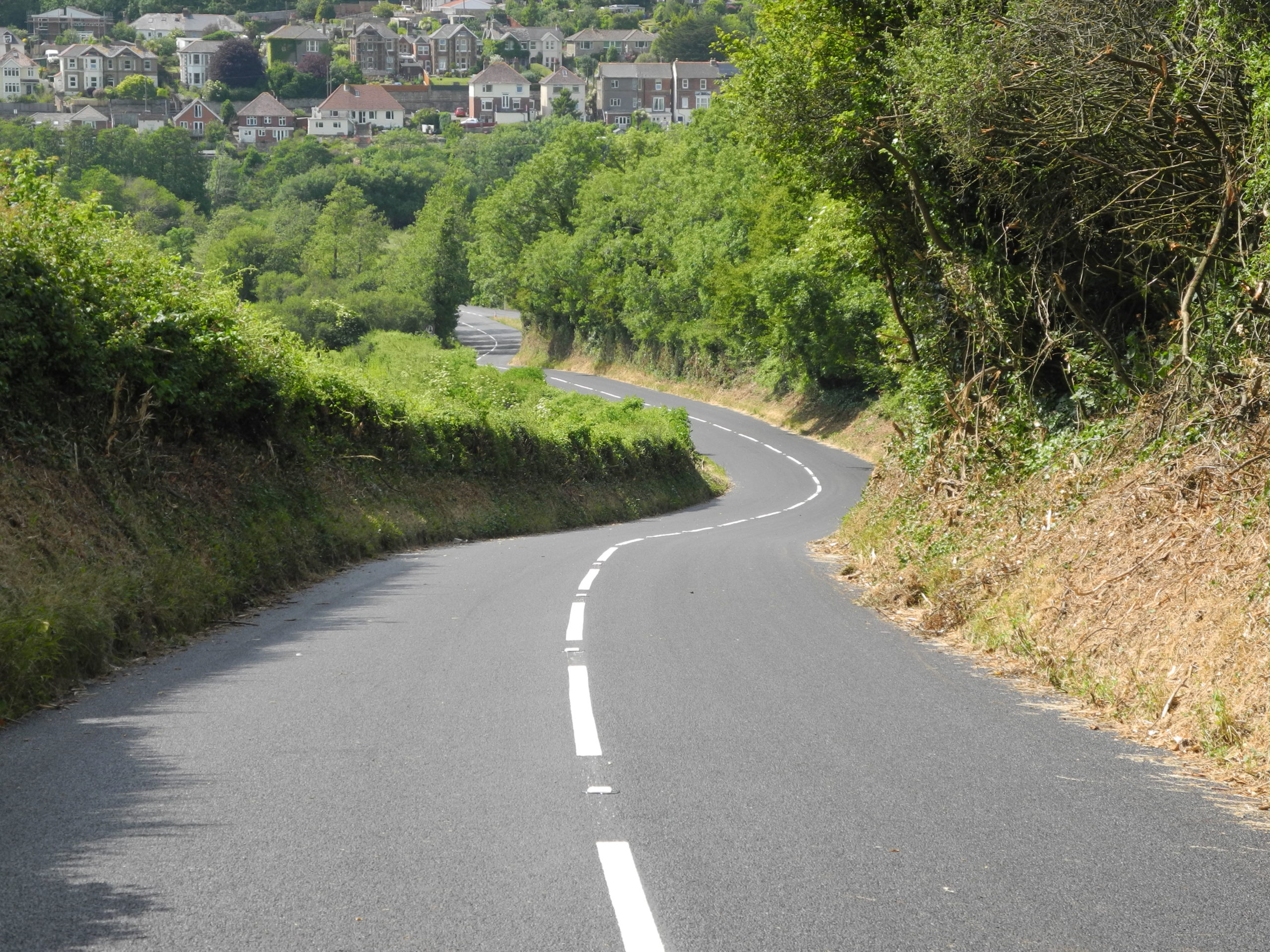 Photo showing resurfaced road at Marshcombe Shute