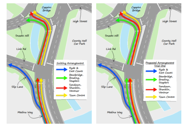 Image showing existing and proposed traffic arrangements for Medina Way and Coppins Bridge Newport Isle of Wight
