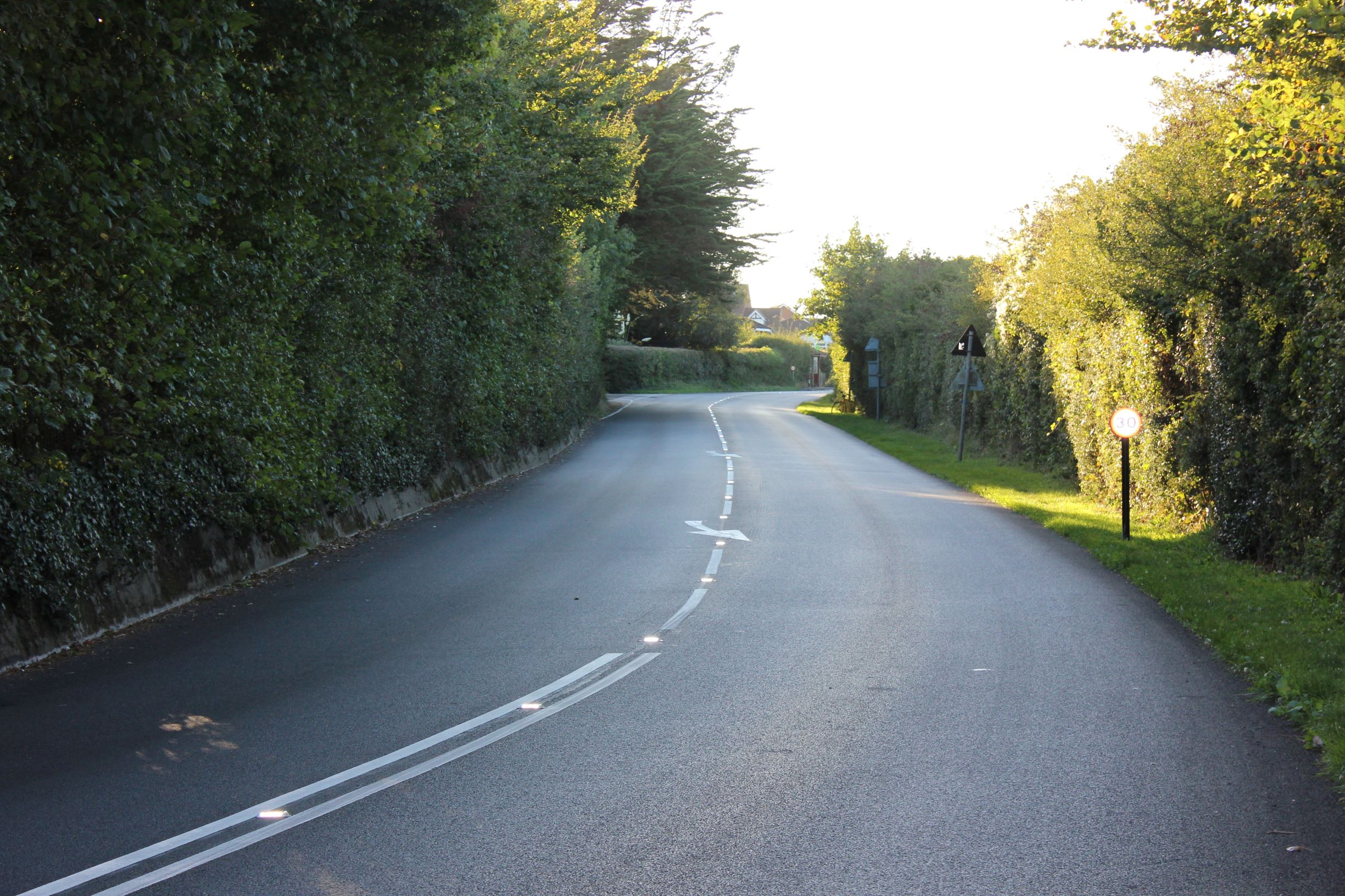 Photo showing a resurfaced road at Shalfleet