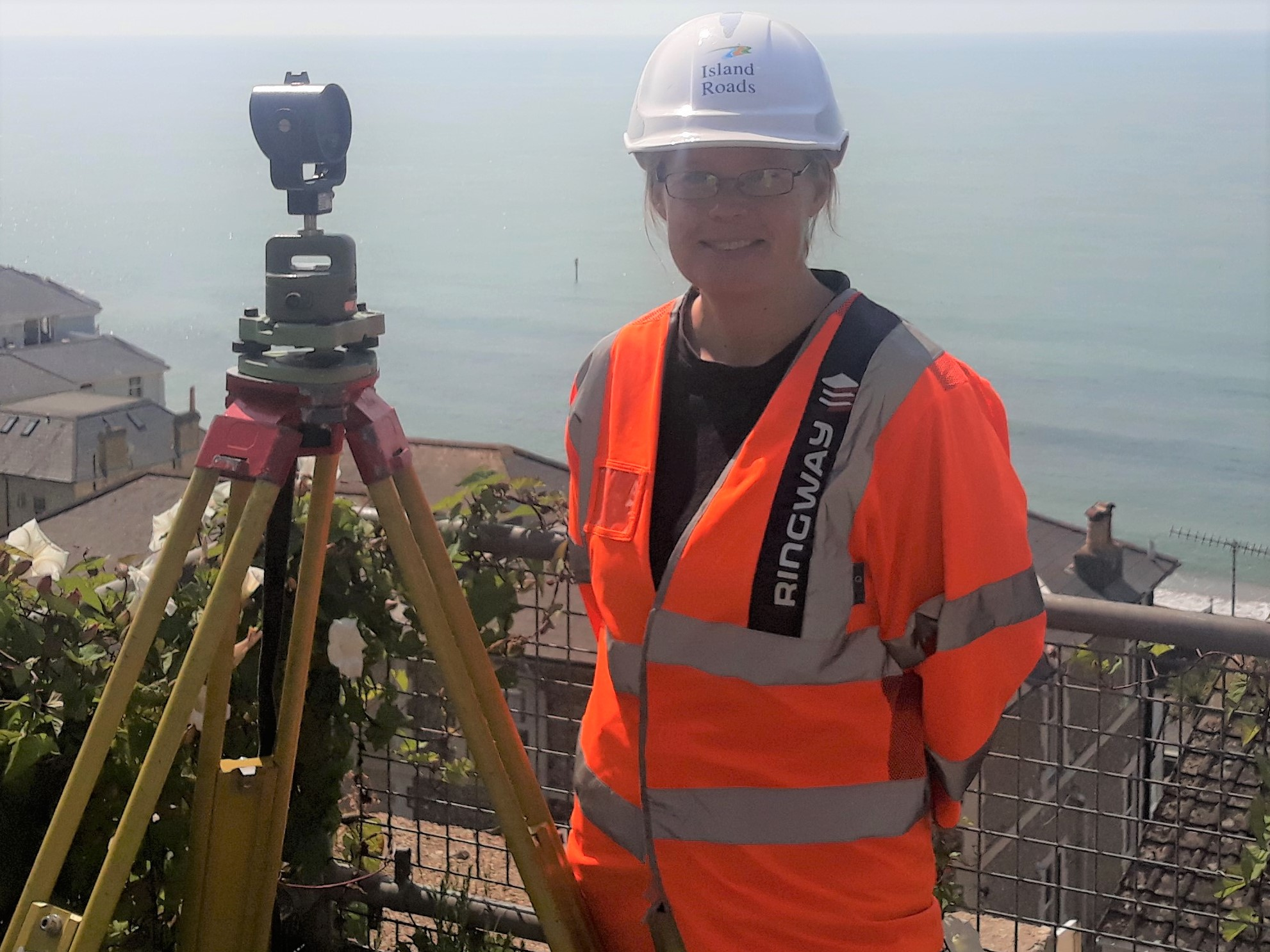 Photo showing Geotechnical Engineer Maddy Clewett on site in Ventnor
