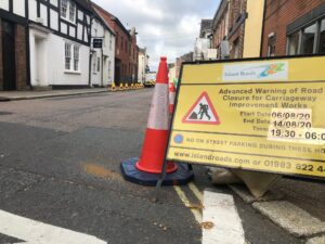 Photo showing advance warning sign on the road about forthcoming roadworks