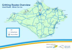 a map showing the gritting routes across the Isle of Wight
