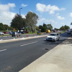 Photo showing the new road arrangements outside of St Mary's hospital on Medina Way northbound