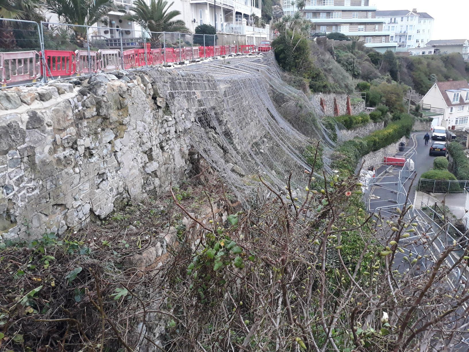 photo showing section of fenced off terracing at Belgrave Road Ventnor