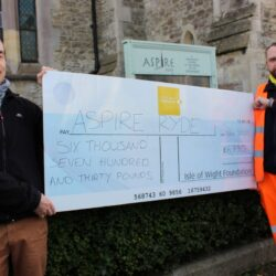 Photo showing two people, one from Island Roads, one from Aspire holding a giant cheque