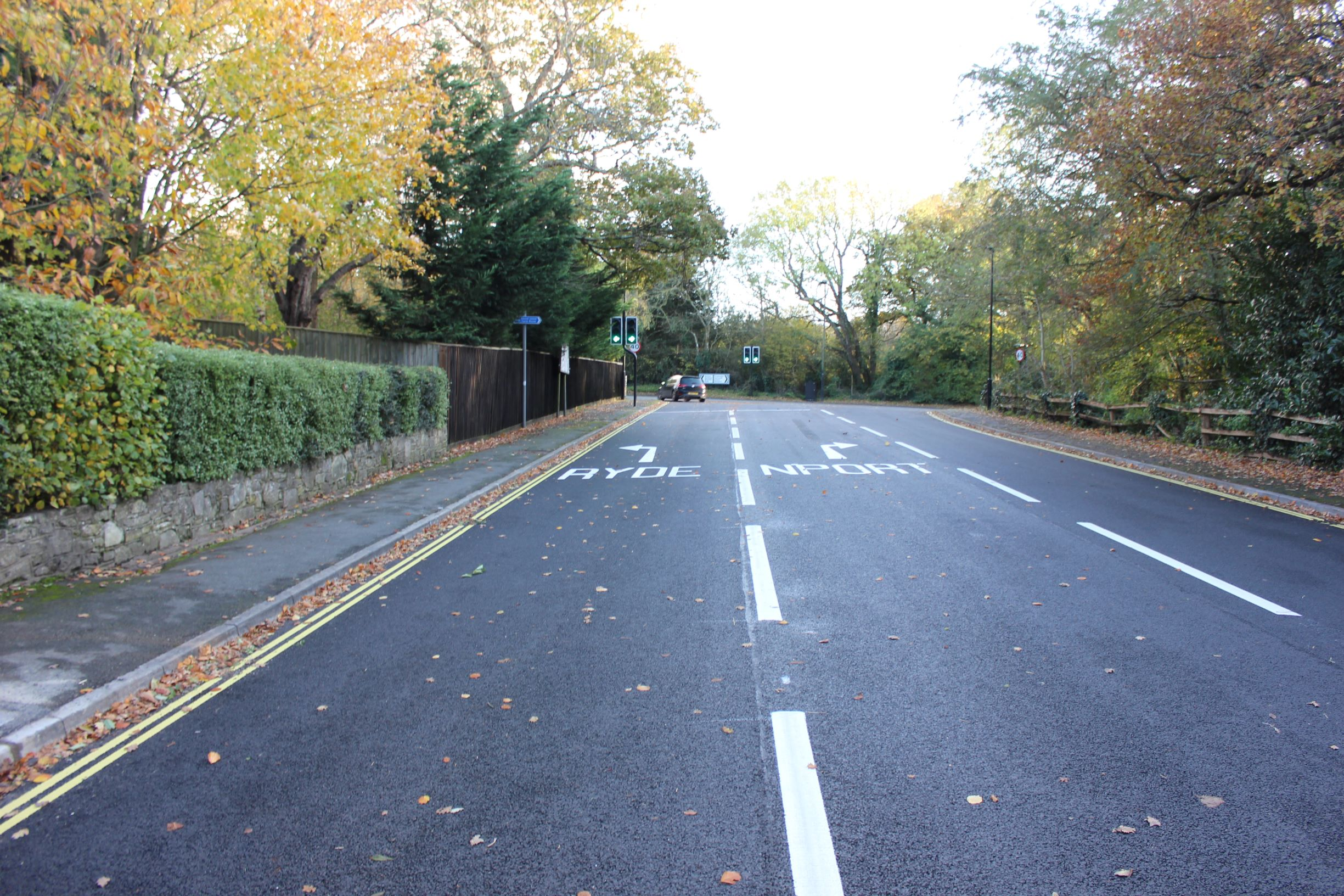 photo showing newly resurfaced road at Fishbourne Lane on the Isle of Wight