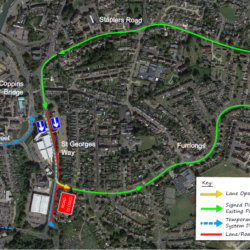 photo of a map showing the diversion route from Furrlongs to Newport via Staplers while the exit to St George's Way is closed during works.
