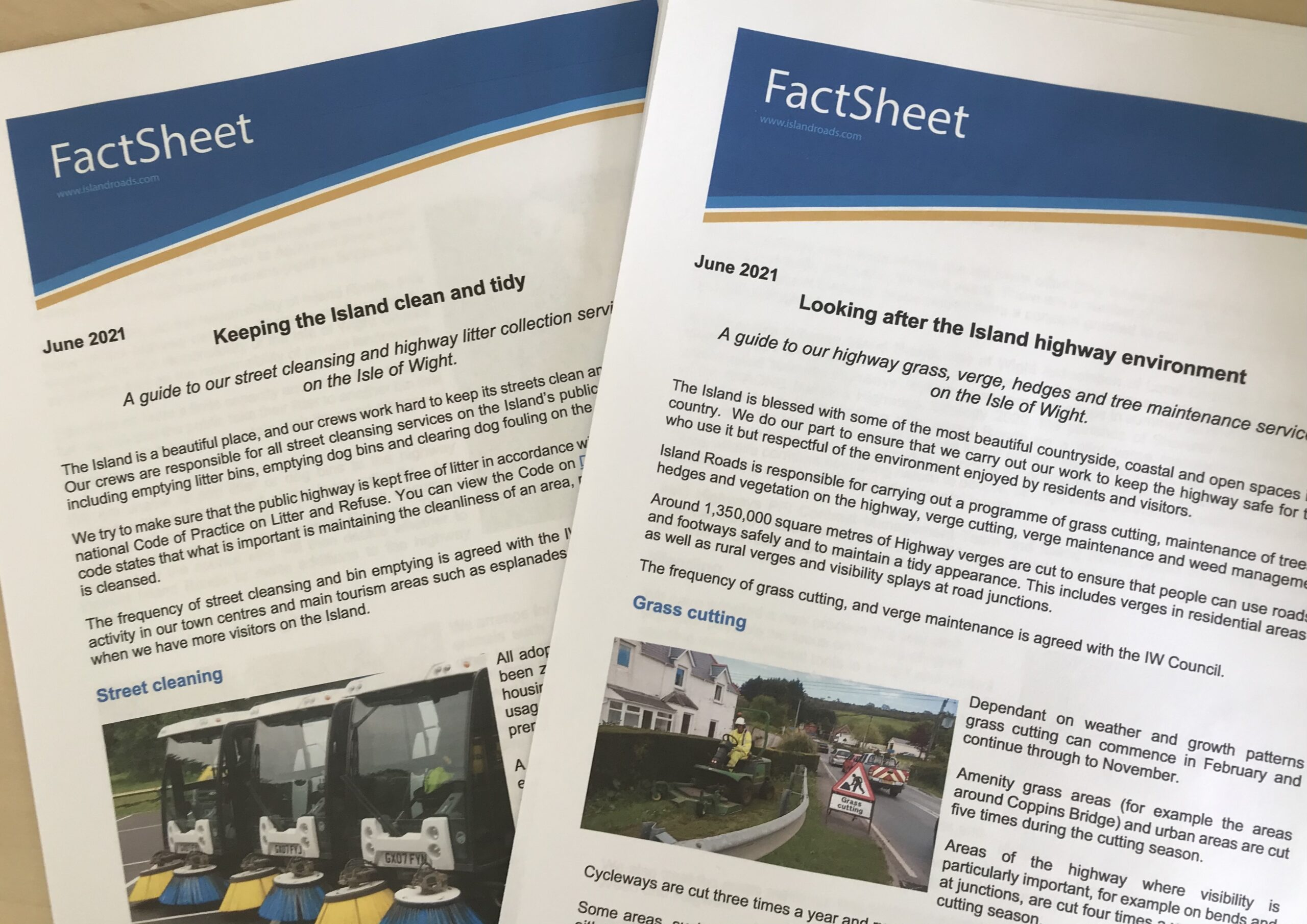 Photo showing two printed factsheets on a desk