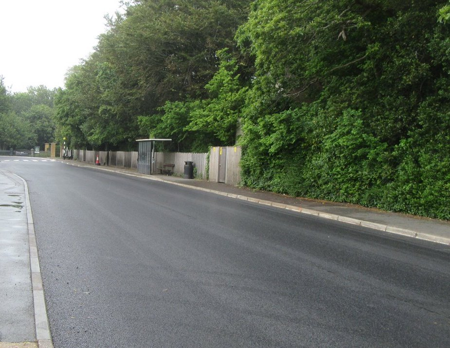 Photo showing a section of the newly resurfaced road in York Avenue outside the garage on the approach to Osborne House in East Cowes
