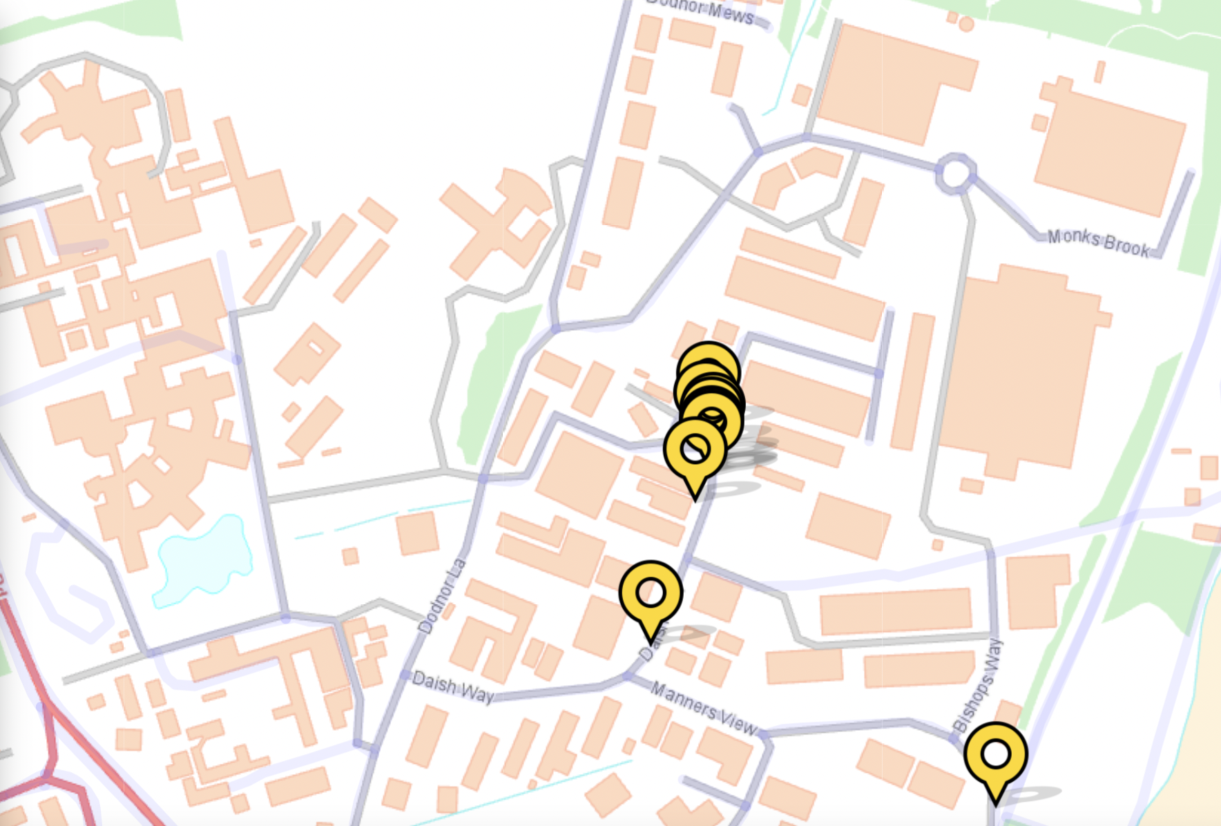 Map with yellow pins marking the location of reported problems